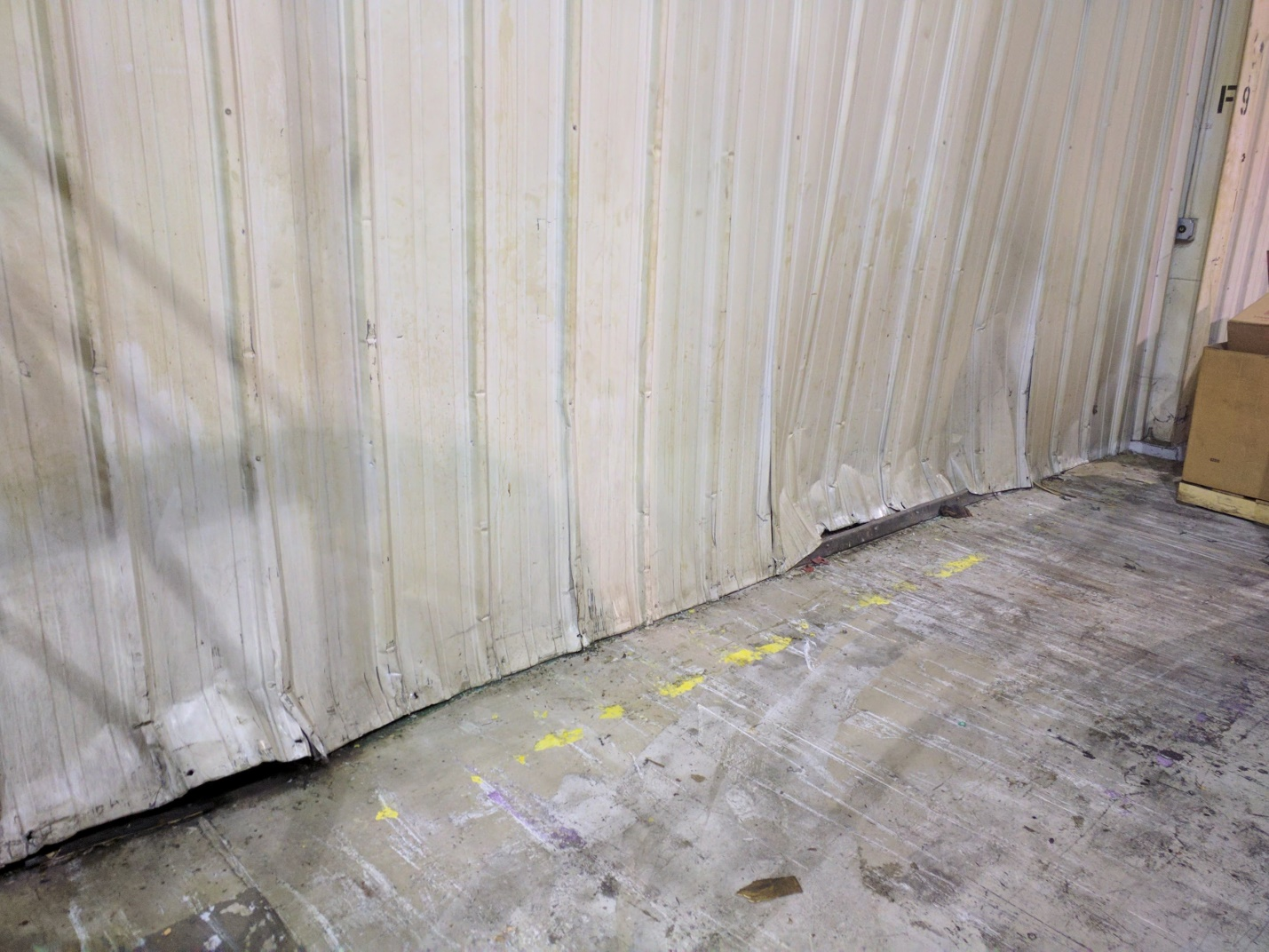 Interior damage to siding from forklift traffic